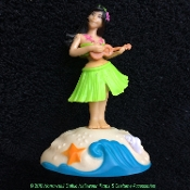Solar Power Motion Car DASHBOARD HULA GIRL Novelty Toy Luau Beach Party Dancing Decoration. Mini auto display Hawaiian dancer moves in realistic motion in bright light. Bikini top, Grass hula skirt. Tropical desk, table, tiki bar, window decor!