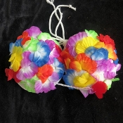 Hawaiian Silk LUAU LEI FLOWER BRA BIKINI TOP Beach Party. Bright Multi-Color Tropical-style, Tahitian-theme, Fancy Dress-up, Pirate Decor, Adult Size Woman Floral Decorated Island Hula-Girl Bikini Bra Costume Accessory- Soft EVA Molded Cups.