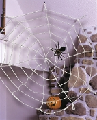 Get costume party guests tangled up in a huge Spider Web! Giant white Rope gothic decor SpiderWeb with loops. Easy hanging, durable design. Filled with scary spiders or not, this creepy Halloween decoration sets a spooky mood. Stretches to 9-feet.