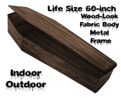 Best Life Size Realistic Creepy Collapsible BROWN WOOD LOOK Instant POP-UP COFFIN PROP w/LID-Horror Halloween Haunted House Cemetery Gothic Graveyard-Vampire Zombie Skeleton Yard Lawn Decoration-TOE PINCHER CASKET-Indoor Outdoor-Easy Assembly Compact