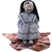 Scary LUNGING GRAVEYARD BABY Creepy Animated Halloween Haunted House Prop Decoration Zombie Doll with LED Lights, Eerie Sounds, Printed Soiled Blanky, IR Sensor, TRY ME Step Foot Pad. Soft PVC Head, Hands, Feet. Battery operated and UL Adapter Plug.