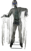 Wearing a tattered costume with shredded-gauze accents, creepy disgusting life size 72-inch (180cm) tall animated Twitching GHOUL Corpse looks to have just shambled out of a grave! Steady-On, Infra-Red Sensor or Step-Here Pad (included) activation.