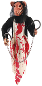 Small 3-Foot Hanging Bloody Butcher Pig. Imagine seeing this in the dark! Perfect for your haunted house or home display. Pig's head and torso wearing a bloody apron, while hand clutches two bloody butcher hooks with chain.