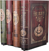 ANIMATED MOVING BOOKS with SOUND Halloween Haunted House Prop Decoration. Just tuck these into your bookshelf and watch your guests jump when they pass by and the books start moving and making eerie sounds!