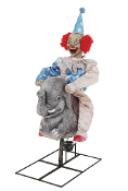 ANIMATED ROCKING CLOWN on ELEPHANT Carnival Music Halloween Prop