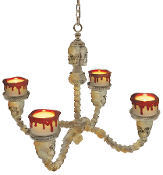 Bone Color SKULL CHANDELIER LIGHT Flicker Candles Halloween Prop