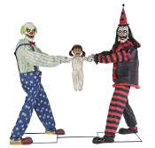 Creepy ANIMATED TUG OF WAR CLOWNS w-KID Red Black Halloween Prop