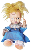BLONDE CREEPY GIRL HAUNTED DOLL ANIMATED Kicking Screaming Baby Brat Halloween Prop Decoration Scary baby girl dolly is having a temper tantrum, with arms and legs kicking, and lots of crying!