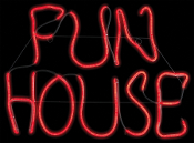 LED Light-Glo FUN HOUSE Halloween Door Wall Sign Prop Decoration