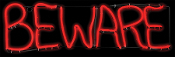 ShortCircuit Light-Glo BEWARE Haunted House Sign Prop Decoration