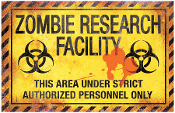 ZOMBIE RESEARCH FACILITY Metal Sign Plaque Halloween Horror Prop