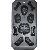 Miniature Anatomy Zombie Horror Novelty Bar Drink - HUMAN SKELETON BONES BODY PARTS ICE CUBE TRAY MOLD - Skull Head Ribcage Hands Feet Halloween Costume Party Decorations Jello Gelatin Shots Candy Chocolate Forms Kitchen Bar Prop Building DIY Crafts