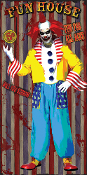 Greet Guests with our Creepy Clown FUN HOUSE Scary Door Cover Halloween Party Decoration Wall Hanging Window Decor Scene Setter Spooky Monster Horror Movie Circus Carnival Theme Prop Building Display Mural Theater Stage Scenery Photo Booth Backdrop.