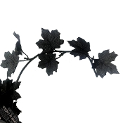 Spooky Gothic 5-Foot MINI BLACK MAPLE LEAF GARLAND Faux Grape Stem Floral Crafts Halloween Decoration-Ghoulishly great for weddings, craft projects, cosplay costume accessories and Halloween party decor. Flexible Wired Plastic w/ Poly Fabric Leaves.