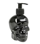 Spooky Gothic SKULL SHAPE SOAP DISPENSER Simple Pleasures Scented Liquid Cleansing Hand Soap. Refillable break resistant PLASTIC container with pump adds an eerie touch to Halloween or gothic themed kitchen or bath. Jack-O-Lantern Pumpkin Spice