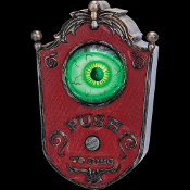 ANIMATED DOORBELL with MOVING EYE BALL Spooky Sounds Halloween Prop. The most creepy and unique doorbell ever! Just activate by pushing the button and the eyeball rolls around and emits strange spooky sounds!