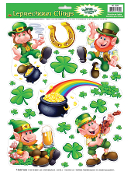 Lucky Irish LEPRECHAUNS SHAMROCKS POT-O-GOLD RAINBOW HORSESHOE BEER CLINGS SHEET Novelty St Patrick's Day Theme Holiday Party Decoration. Use on Windows, Mirrors, Refrigerator, Dishwasher... Cute colorful festive decor, fun for all!