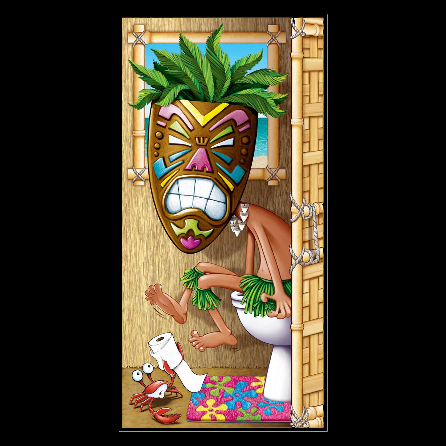 Beau Funny Luau Voodoo TIKI MAN MASK Bathroom Door Cover Decoration